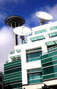 Communication media center & Seattle needle tower. Royalty Free Stock Photo