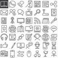 Communication media line icons set Royalty Free Stock Photo