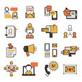 Communication network contact and media business website icons technology social communicate vector illustration