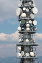 Communication repeater antenna tower detail Royalty Free Stock Photo