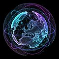 Communication in a social network without boundaries. Connection lines Around Earth Globe. Concept of social network Royalty Free Stock Photo