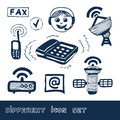 Communication and social network web icons set Stock Photo