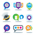 Communication of social people in world logo community media and internet network service Royalty Free Stock Photo