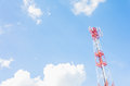Communication tower on the blue sky Stock Photos