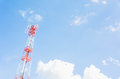 Communication tower on the blue sky Stock Photo