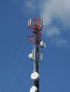 Communication tower on blue sky background Royalty Free Stock Photography