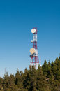 Communication tower in a forest under blue Royalty Free Stock Photo