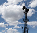 Communication transmitter against a sky background Stock Photo