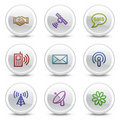 Communication web colour icons, circle buttons Stock Photos