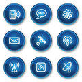 Communication web icons, blue circle buttons Stock Photo