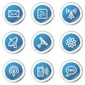 Communication web icons, blue sticker series Royalty Free Stock Photography