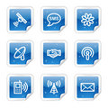 Communication web icons, blue sticker series Stock Image