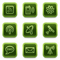 Communication web icons, green square buttons Royalty Free Stock Photos