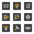 Communication web icons, grey buttons series Stock Images