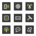 Communication web icons, grey square buttons Royalty Free Stock Photo