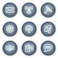 Communication web icons, mineral circle buttons Stock Photography