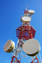 Communications antenna big wireless over clear blue sky Stock Photography