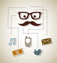 Communications icons over beige background vector illustration Stock Photos