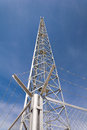 Communications pylon against a blue sky tower with radio phone transmitters and receivers Royalty Free Stock Photos
