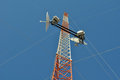 Communications tower view from below of a with satellite dishes isp Stock Image