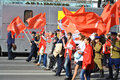 Communist demonstration on the day of victory st petersburg russia may nevsky prospect in world war ii Stock Photography