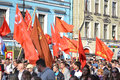 Communist demonstration on the day of victory st petersburg russia may nevsky prospect in world war ii Royalty Free Stock Photo