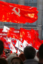 Communist flags in crowd Royalty Free Stock Photography