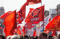 Communist flags of the raised fist and revolutionary youth league bolshevik the parade of veterans of world war ii on the nevsky Stock Photography