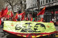 Communist protesters party during demonstration that took place on the st of may international workers day in london uk Royalty Free Stock Photo