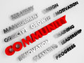 Community concept abstract background d with voluminous words Stock Photography