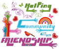 Community and other icons helping friendship text with extending hands love service concept Stock Photo