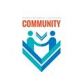 Community partnership - vector business logo template concept illustration. Businessman handshake creative sign in minimal design Royalty Free Stock Photo