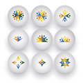 Community unity happy people children playing vector icons this graphic also represents buttons with together employees Stock Photography