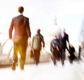 Commuter business people commuter crowd walking cathedral concep concept Stock Images