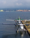 Commuter seaplanes and air taxis docked at the vancouver harbour flight centre canada Stock Images