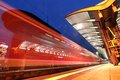 Commuter train leaving a station blurred view of regional departing the central railway in frankfurt am main germany Stock Images