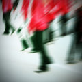 Commuters crossing at rush hour blur motion Royalty Free Stock Images