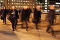 Commuters on London Bridge at night Royalty Free Stock Photo
