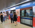 Commuters singapore at chinatown mrt station in Royalty Free Stock Photo
