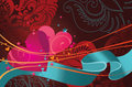 Comosition contains hearts and ribbon Royalty Free Stock Image