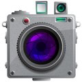 Compact camera with a lens vector illustration Stock Images