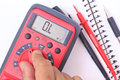 Compact digital multimeter for electric circuits diagnostic stock photo Stock Photo