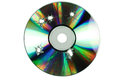 Compact disc with the holes of the shots on a white background Royalty Free Stock Photos
