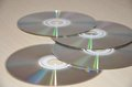 Compact discs on table Royalty Free Stock Photo