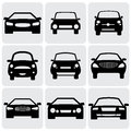 Compact and luxury passenger car icons signs fro front view vector graphic this illustration represents nine symbols of cars front Royalty Free Stock Images