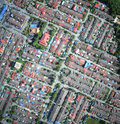 Compact neighborhood from aerial view Royalty Free Stock Photos