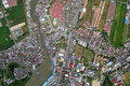 Compact neighborhood from aerial view Stock Images