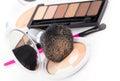 Compact powder and black brush Royalty Free Stock Photo