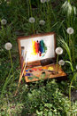 Compact vintage painter's case on grass Royalty Free Stock Photo