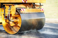 Compactor roller at asphalting work Royalty Free Stock Photo